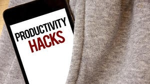 Handwriting text writing Productivity Hacks. Concept meaning Hacking Solution Method Tips Efficiency Productivity Hoar frost color side pocket cell phone be visible black and red letters.