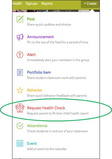 Health Checks in Create Menu