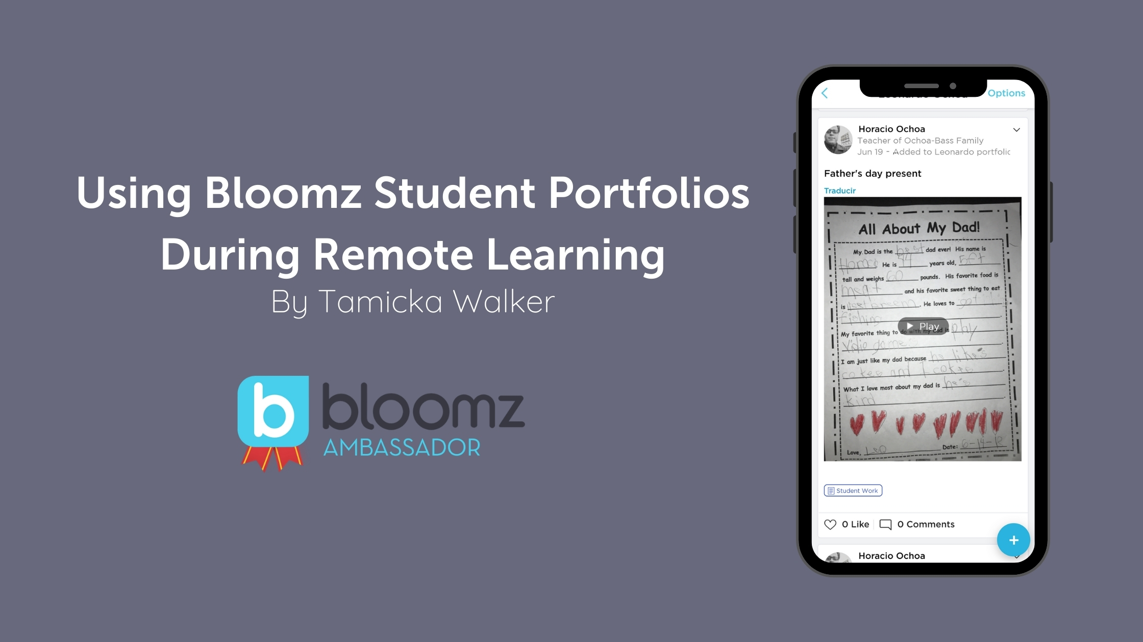 Using Bloomz Student Portfolios During Remote Learning