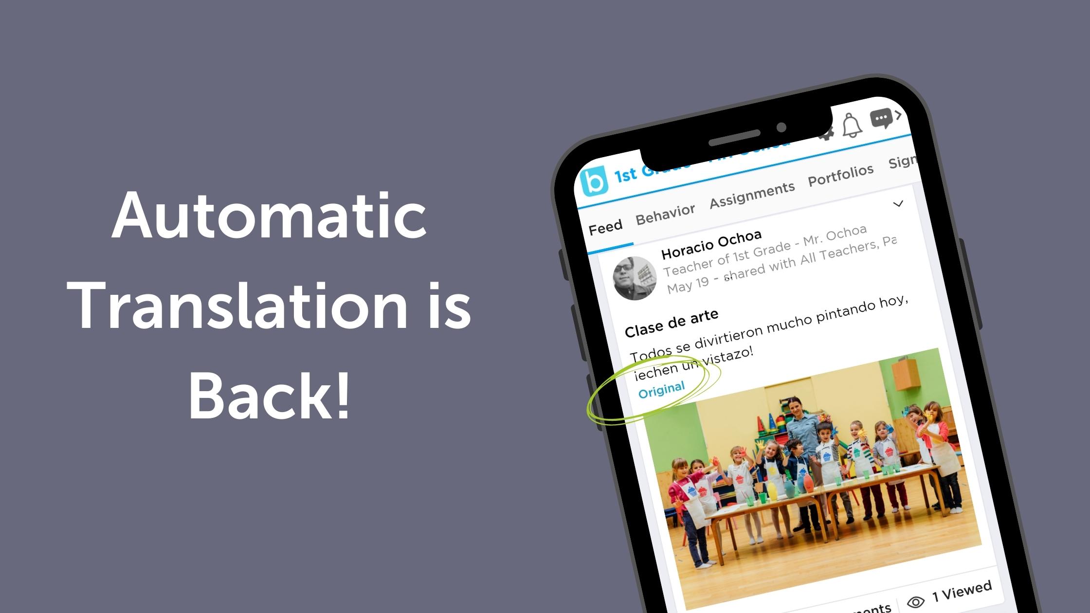 Automatic Translation is Back!