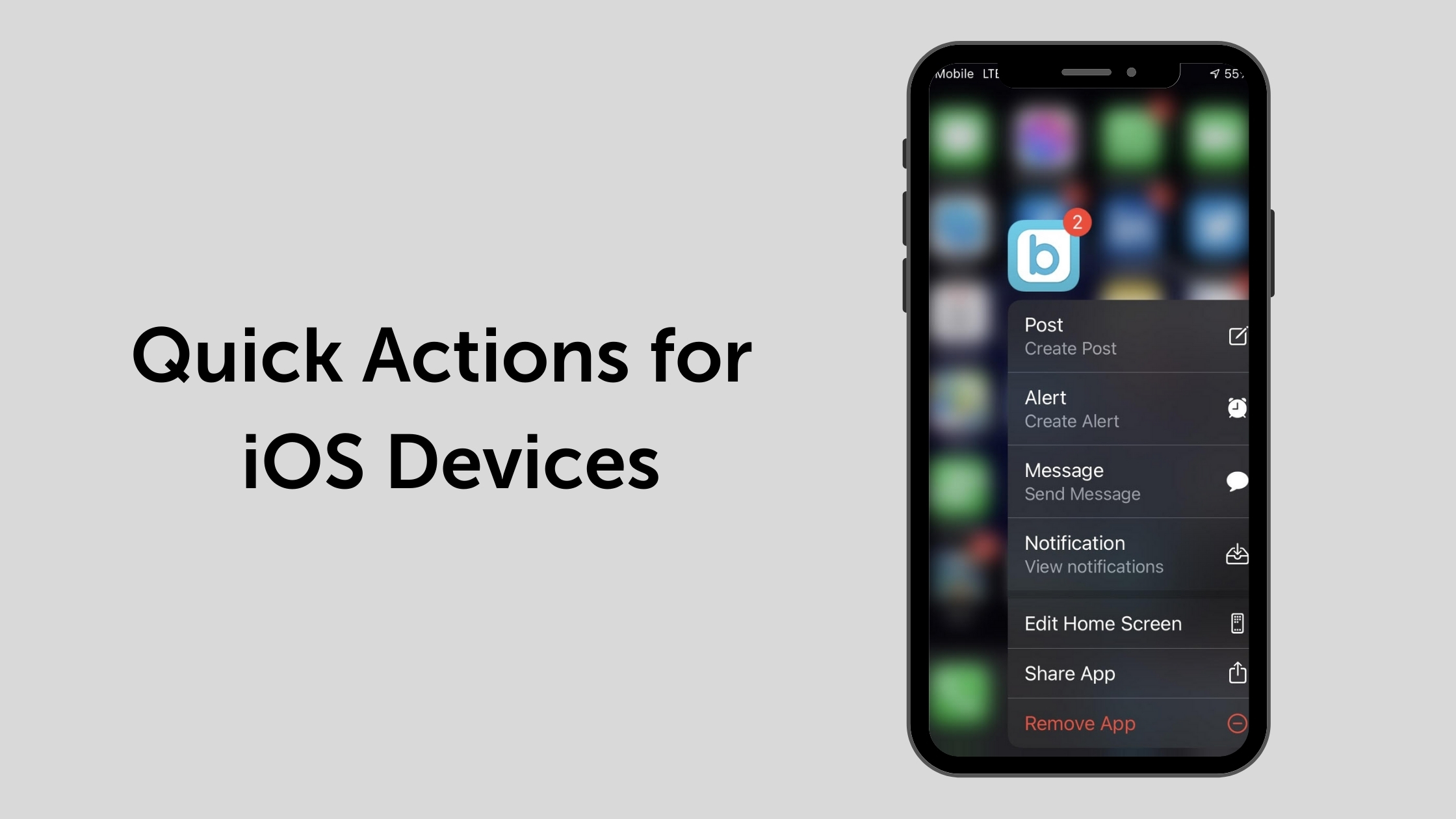Quick Actions for iOS App
