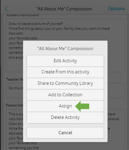 Click to Assign Activities
